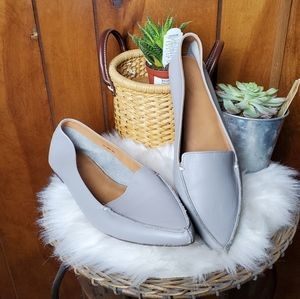 J. Crew Edie leather pointed toe color flat gray